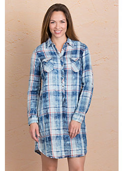 Ryan Michael Indigo Plaid Cotton Shirt Dress