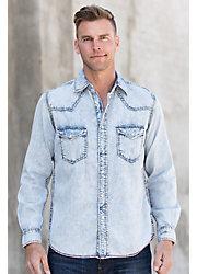 Ryan Michael Sun Washed Indigo Cotton-Blend Shirt