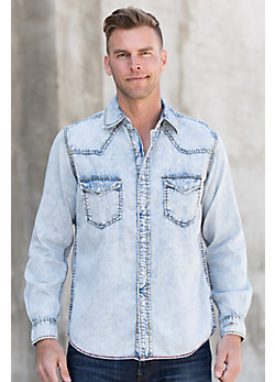 Ryan Michael Sun Washed Indigo Cotton-Blend Shirt