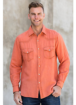 Ryan Michael Split Rail Seam Linen-Blend Shirt