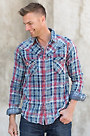 Ryan Michael Double Face Indigo Plaid Cotton Shirt