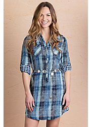Ryan Michael Lake Travis Plaid Cotton Shirt Dress
