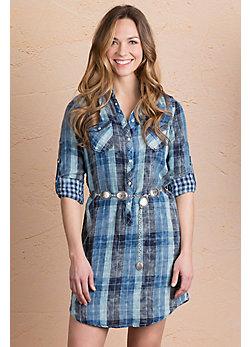 Ryan Michael Lake Travis Plaid Cotton Shirt Dress