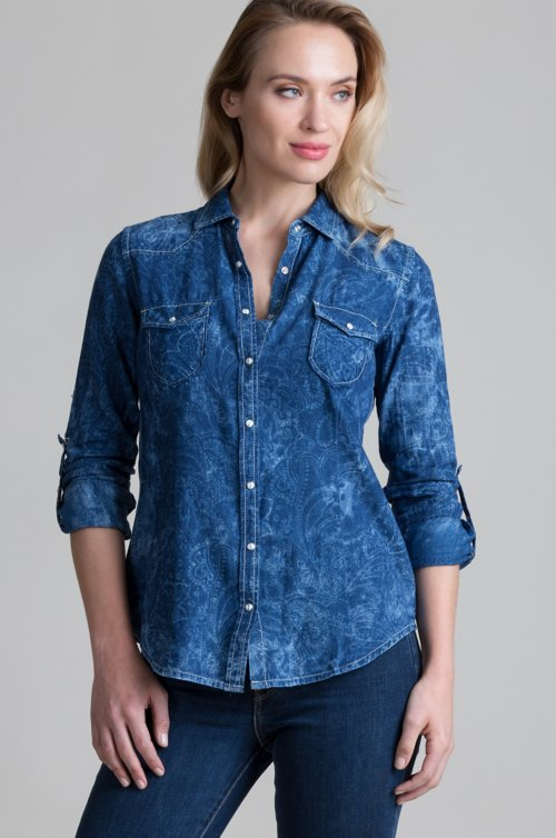 Ryan Michael Paisley Jacquard Cotton Western Shirt