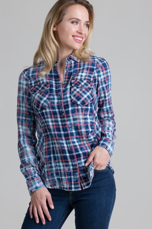 Ryan Michael Pick Stitch Plaid Cotton Shirt