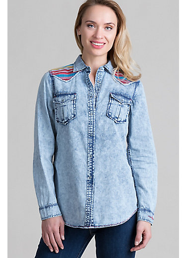 Ryan Michael Serape Embroidered Cotton-Blend Western Shirt