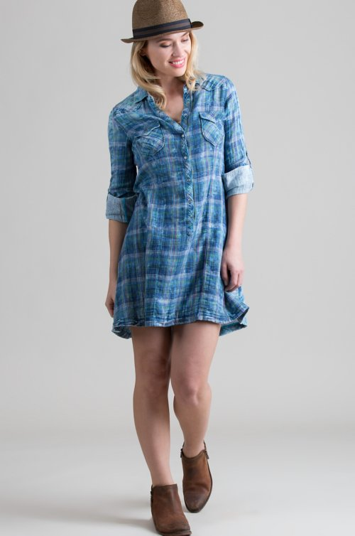 Ryan Michael Fiesta Plaid Cotton Long Shirt