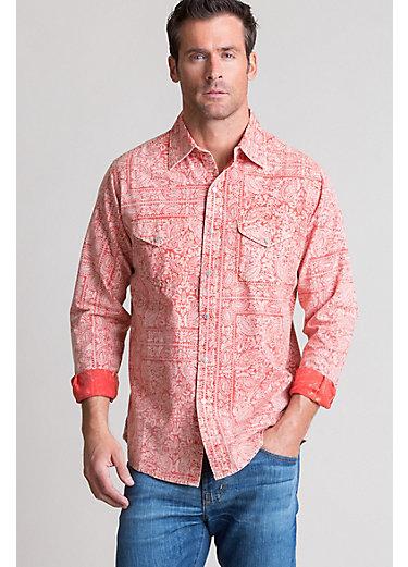 Ryan Michael Bandana Print Cotton Western Shirt