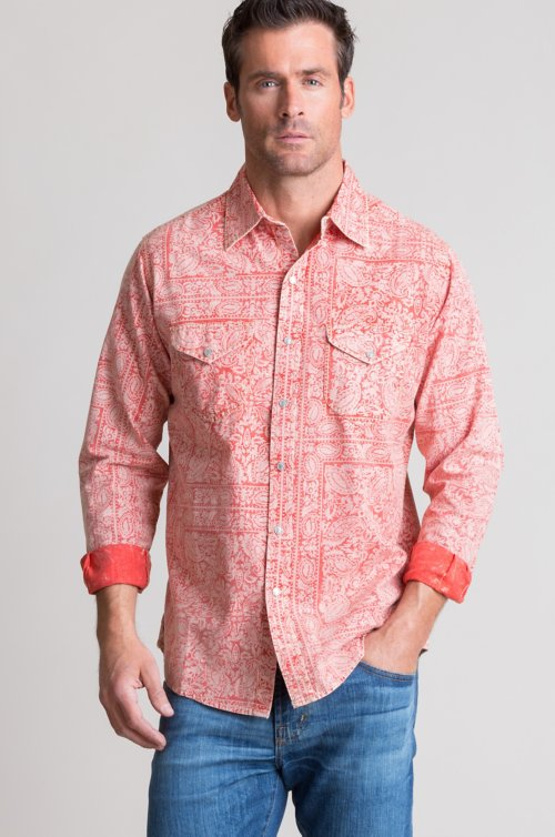 Ryan Michael Bandana Print Cotton Western Shirt