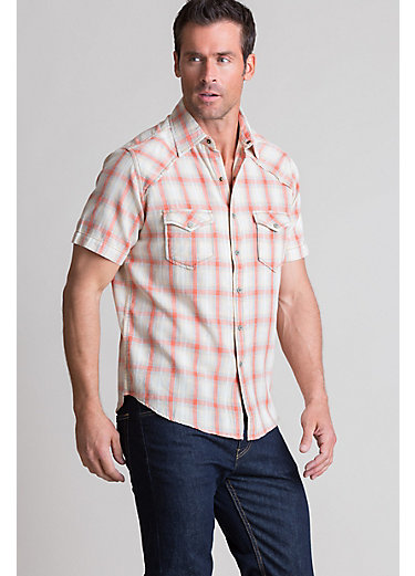 Ryan Michael Ombre Plaid Cotton Western Shirt