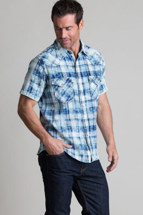 Ryan Michael Pick Stitch Plaid Cotton Western Shirt