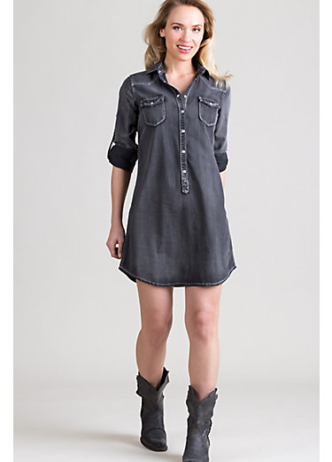 Ryan Michael Western Faded Denim Long Shirt