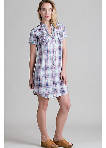 Ryan Michael Cloud Plaid Viscose Long Shirt