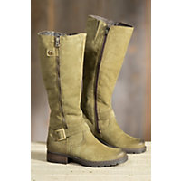 1960s Style Shoes Womens Overland Marcella Wool-Lined Leather Boots OLIVE 5 Size EU39 $195.00 AT vintagedancer.com