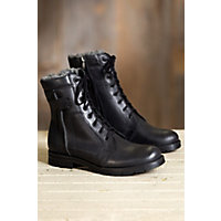 1920s Style Mens Shoes | Peaky Blinders Boots Mens Overland Renegade Wool-Lined Leather Boots BLACK OIL 3 Size EU46 $135.00 AT vintagedancer.com