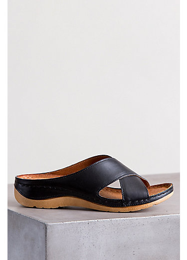 Women's Overland Leather Cross Strap Slide Sandals