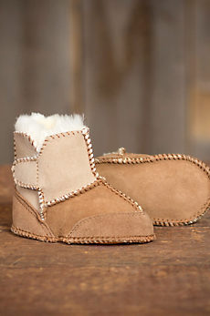 2-Tone Sheepskin Baby Slipper Booties