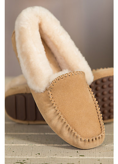 Women's Overland Skyler Shearling-Lined Suede Moccasin Slippers