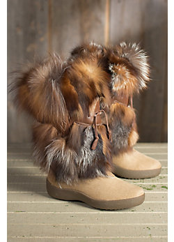 Women's Linda Calfskin Boots with Red Fox Fur Trim