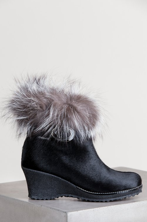 Women's Katy Wool-Lined Calfskin Boots with Fox Fur Trim