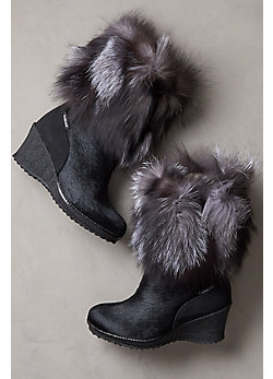 Women's Angelina Shearling-Lined Calfskin Boots with Fox Fur Trim