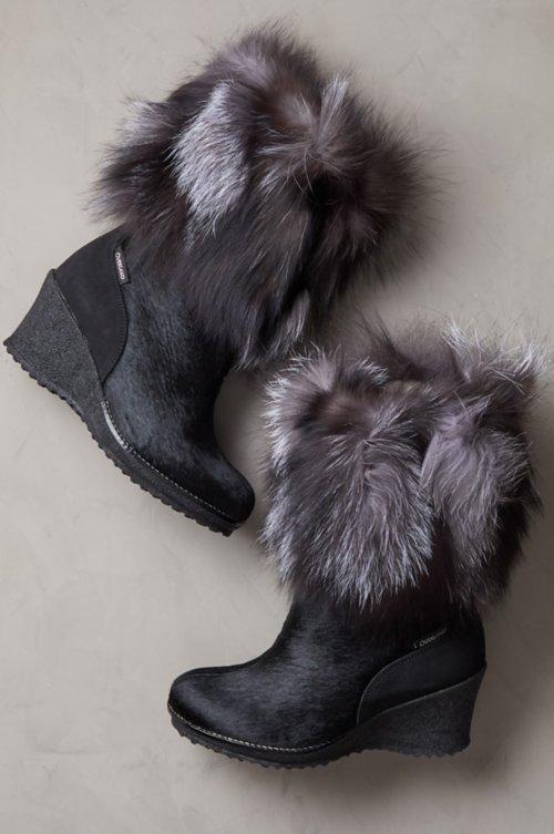 88312b0c5608 Women s Angelina Wool-Lined Calfskin Boots with Fox Fur Trim