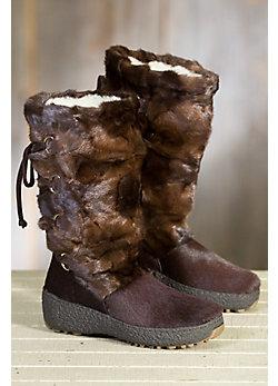Women's Visone Shearling-Lined Mink Fur and Calfskin Boots