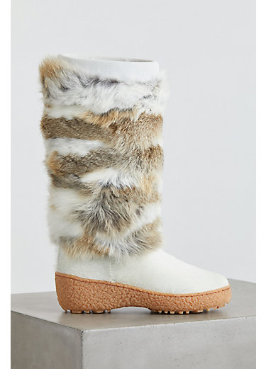 Women's Norma 2 Wool-Lined Rabbit Fur and Calfskin Boots