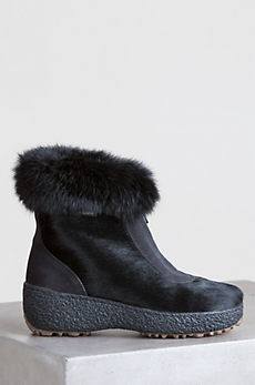 Women's Rose Shearling-Lined Rabbit Fur and Calfskin Boots