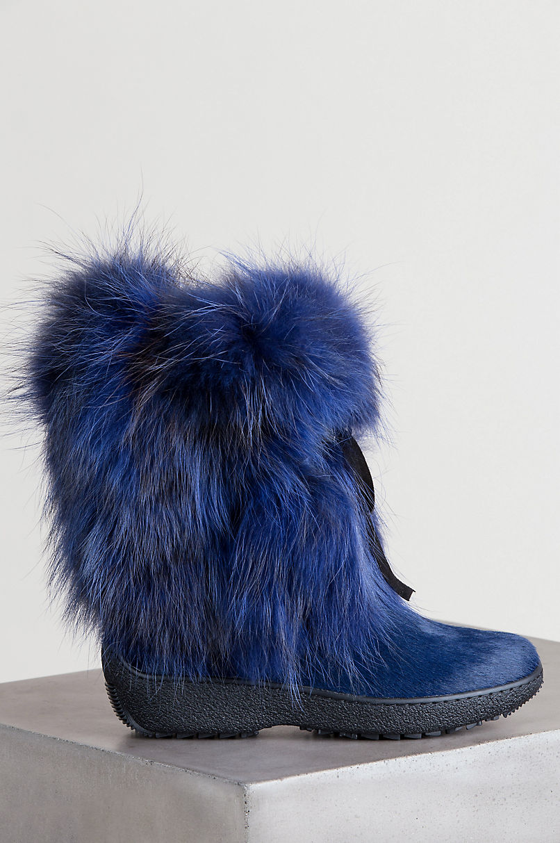 Women's Volpe Wool-Lined Fox Fur and Calfskin Boots