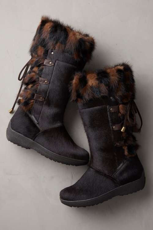 Women's Ekru Visone Wool-Lined Calfskin Boots with Mink Fur Trim