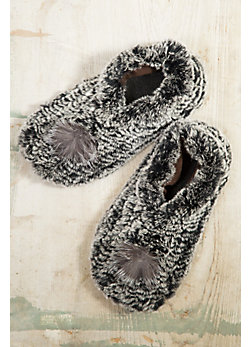 Knitted Rabbit Fur Slippers with Raccoon Fur Pom