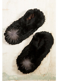 Knitted Rabbit Fur Slipper with Raccoon Fur Pom