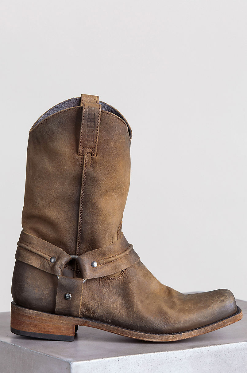Men's Liberty Black Distressed Leather Harness Boots