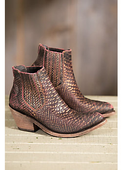 Women's Liberty Black Exotic Scale Leather Boots