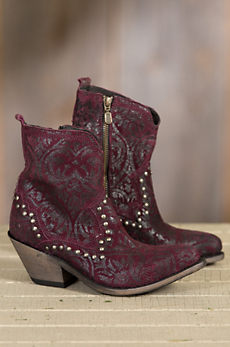 Women's Liberty Black Printed Leather Short Boots
