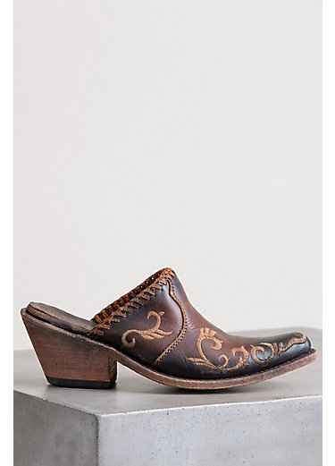 Women's Liberty Black Mule Leather Shoes with Embroidery Detail