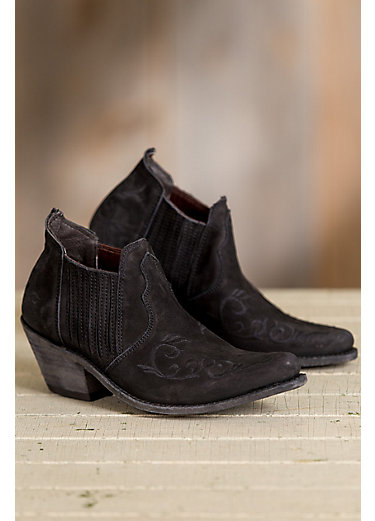 Women's Liberty Black Suede Ankle Boots with Embroidery Detail