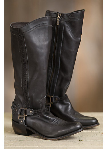 Women's Liberty Black Rugged Leather Cowboy Boots