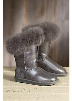 Women's Australia Luxe Collective Foxy Metallic Shearling Sheepskin Boots with Fox Fur Trim