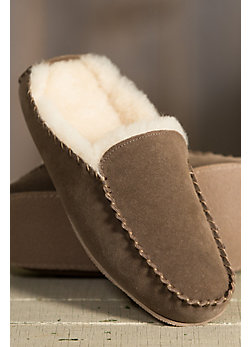 Men's Overland Bruno Sheepskin-Lined Suede Mule Slippers