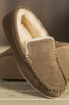 Men's Overland Grayson Suede Sheepskin Moccasin Slippers