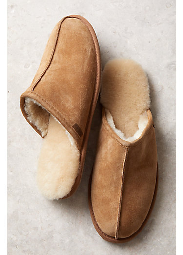 Genuine Men's Sheepskin Slippers Suede Leather And Wool Lining 9387