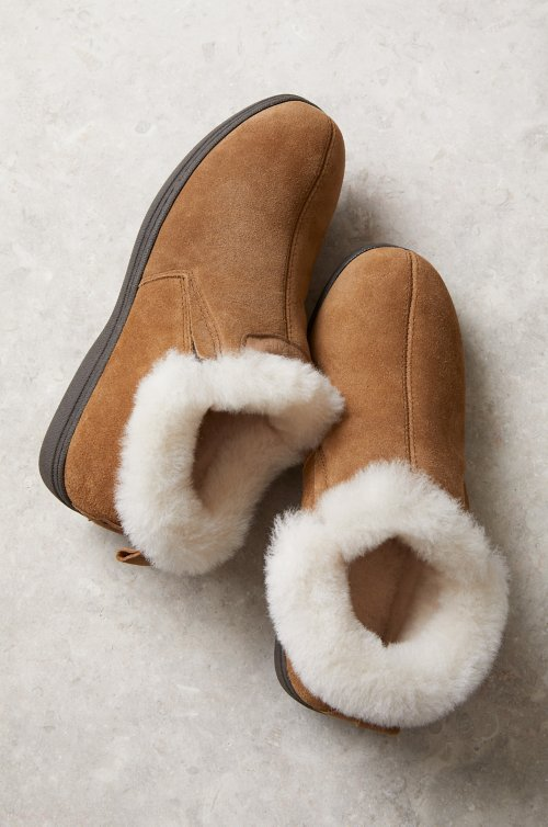 Women's Terra Shearling-Lined Cowhide Suede Slipper Shoes