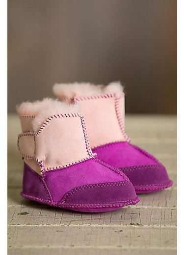 Two-Tone Australian Sheepskin Baby Slipper Booties
