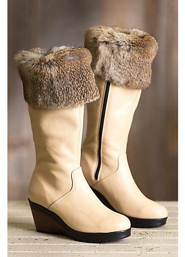 Women's Becca Wool-Lined Waterproof Italian Leather Boots with Rabbit Fur Trim