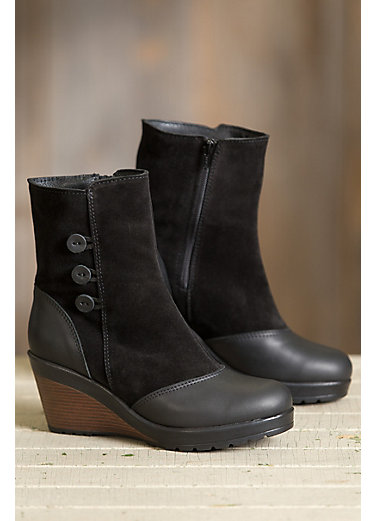 Women's Drew Wool-Lined Waterproof Italian Leather Wedge Boots