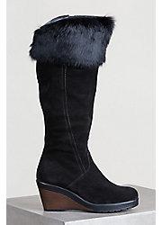 Women S Overland Utah Calfskin Suede Boots With Rabbit Fur