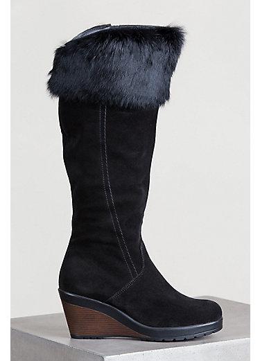 Women's Hershey Wool-Lined Waterproof Suede Boots with Rabbit Fur Trim