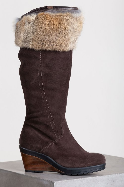 Women's Hershey Wool-Lined Waterproof Suede Boots with Rabbit Fur Trim